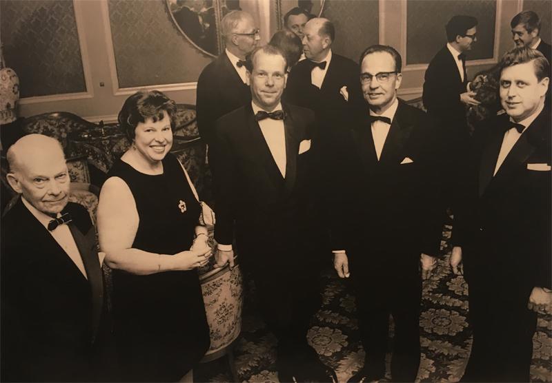 Annual CC Dinner at Hotel Seurahuone in Helsinki in 1968. From left Consul Unio Sarlin, Ms. Lesley Corston, DG Philip Petterson, Consul General Pertti Pajari, Consul Jalo Haapasalo.