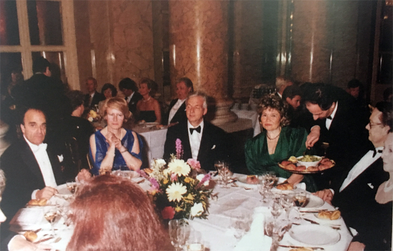 World Conference of FICAC in Wien in 1988, Consul General Mr. Harry Blässar and Mrs. Laila Blässar next to Consul Mr. Bési and his wife from Athens, Greece.