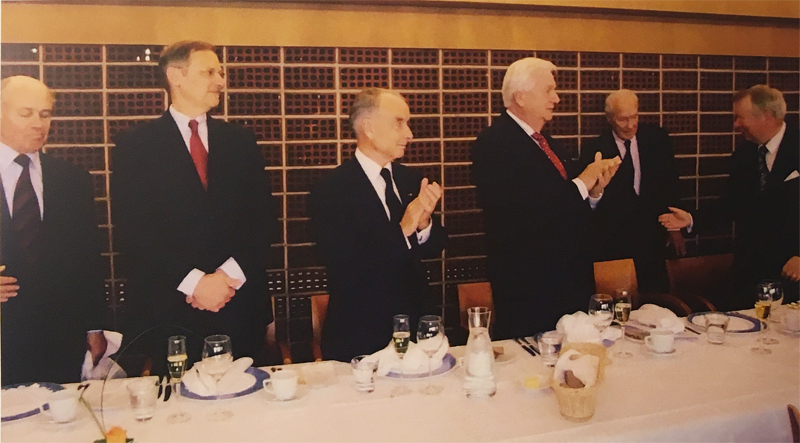 Farewell luncheon of the very longstanding Dean of the Consular Corps, Consul General of Chile, Mr. Harry Berner at the Palace Hotel in Helsinki in 2009. From right: Consul General Gaius Gyllenbögel next to the retiring Dean, also longstanding Secretary of CC, Consul General Harry Blässar,  next to him Chief of Protocol, Ambassador Johannes Bäckström.