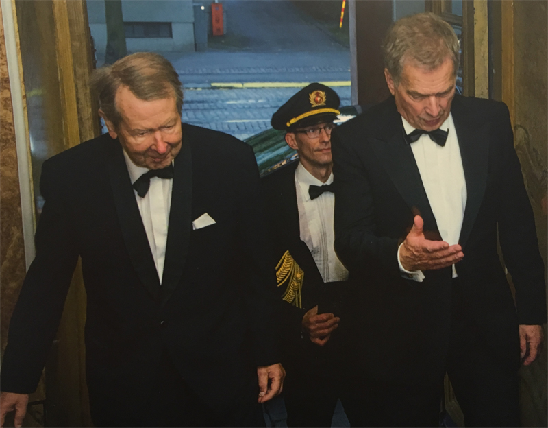 Mr. Sauli Niinistö, President of Finland entering the 90th Celebration of the Consular Corps in 2015 in Helsinki.